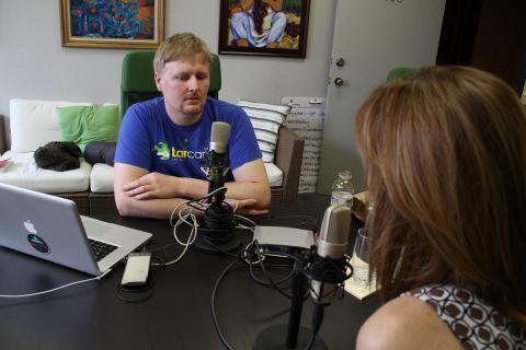 Ryan Price conducting an interview for Florida Creatives Podcast